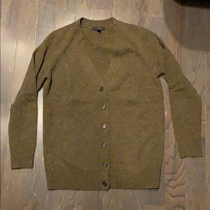 J. Crew V-neck Cardigan Sweater Green Marled S